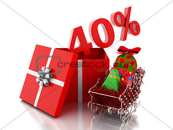 3d box with 40 percent text. Christmas sale concept.