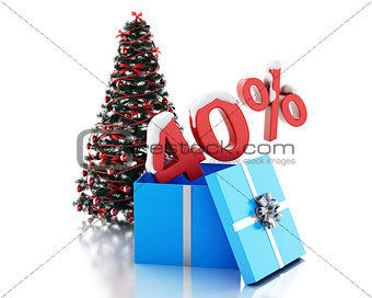 3d box with 40 percent text and christmas tree