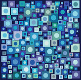 circle square collection in many blue purple over deep blue