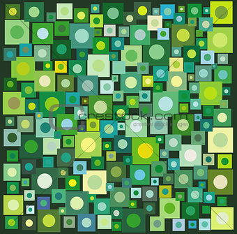 circle square collection in many green yellow over deep green