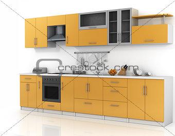 Modern kitchen on the thite background.