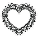 Heart Mehndi design, Indian Henna tattoo pattern - love concept