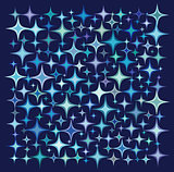 blue purple star collection over a deep blue backdrop