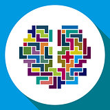 Pixelated icon. creative brain symbol