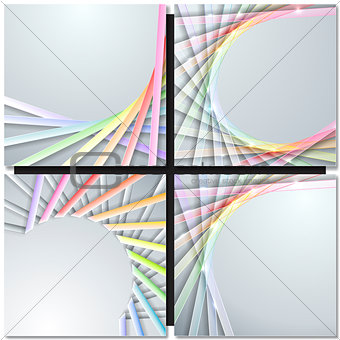 Abstract paper ribbons on gray background