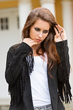 fashion girl with leather jacket