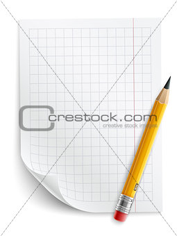 Blank sheet of paper with grid and pencil
