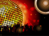Disco ball and crowd with speaker