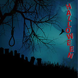 Hallooween background with hangman noose text and graveyard