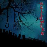 Hallooween background with hangman noose text and graveyard