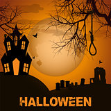 Halloween background with spooky house trees and graveyard