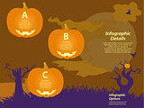 Halloween infographic background with pumpkins