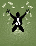 Lucky businessman silhouette