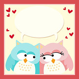 Love owls with a blank speech bubble
