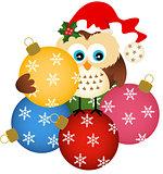 Owl with Christmas glass ball