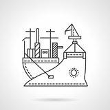 Transport vessel line vector icon