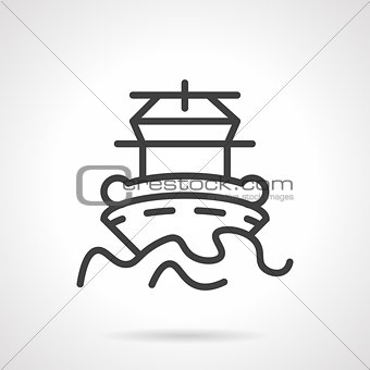 Abstract simple line vector icon for ship