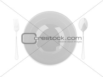fork and spoon with white plate on white background