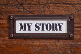 my story -  file cabinet label