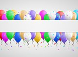 invitation card with many balloons