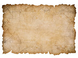 old nautical treasure map with torn edges isolated