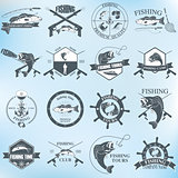 Set of vintage fishing labels, badges and design elements