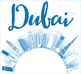 Outline Dubai City skyline with blue skyscrapers and copy space.