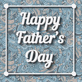 Happy Father's Day Typographical Background with doodle pattern