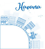 Outline Havana Skyline with blue Building and copy space