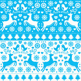 Winter, Christmas seamless blue pattern with reindeer - folk style