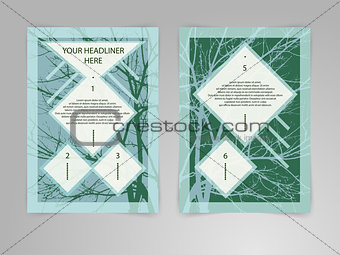 Abstract hipster Brochure Flyer design vector template with tree shape in A4 size. Business, plan, project, Eco, biology, beauty and medicine concept.