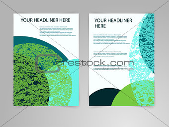 Abstract blue and green Brochure Flyer design vector template in A4 size. Eco, biology, beauty and medicine concept.