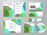 Professional corporate identity or business kit with geometric abstract design for your business includes CD, Cover, Business Card, Envelope, Flyers and trif-old brochure. Eco, biology, beauty and medicine concept.