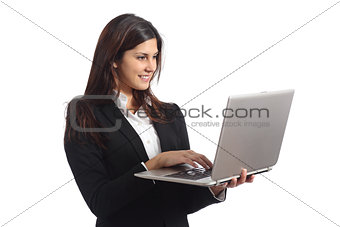 Business woman working with a laptop