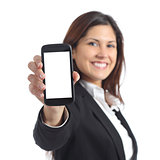 Businesswoman showing a blank smart phone screen