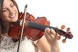 Happy musician playing violin