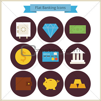 Flat Finance and Banking Icons Set