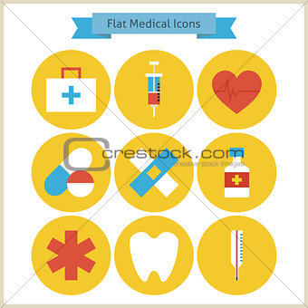 Flat Health and Medicine Icons Set