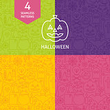 Thin Line Halloween Holiday Patterns Set
