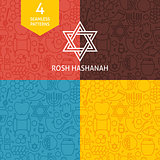Thin Line Rosh Hashanah Holiday Patterns Set