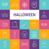 Vector Line Art Modern Halloween Holiday Icons Set