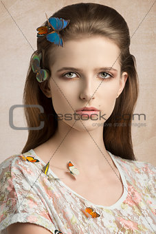 cute woman with butterflies