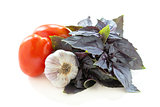 Purple basil, tomatoes and garlic .