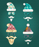 Santa Claus Silhouette Icons with Triangle Patterns
