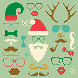 Christmas Colorful Fashion Silhouette Set Hipster Style
