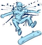 skater hand draw on white background