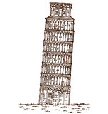 pisa tower hand draw on white background
