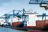 Container terminal with gantry cranes and unloaded cargo ships a