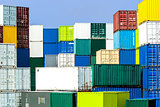 Shipping container stack in diverse, harmonious colors