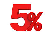 red sign 5 percent